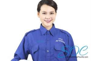Đồng phục bảo hộ lao động công nhân cho nữ màu xanh