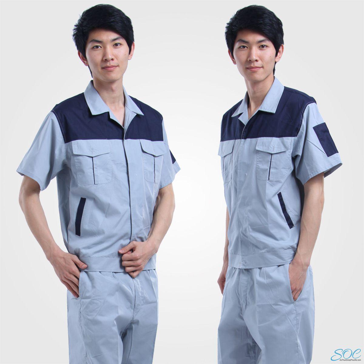 Đồng phục bảo hộ lao động công ty tay ngắn phối màu xám xanh