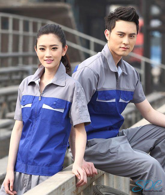 Đồng phục bảo hộ nam nữ tay ngắn phối màu xanh xám