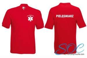 Áo thun đồng phục cổ trụ tay ngắn màu đỏ có bo vải cá sấu